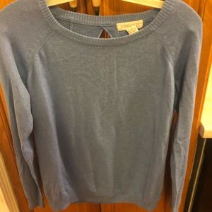 Sweaters - Blue crew neck sweater with open back - Size M